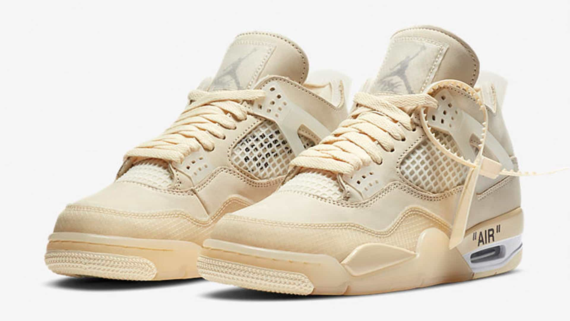 Off-White X Air Jordan 4 WMNS 'Sail' Official Images Released!
